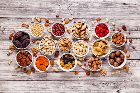 Nuts and dried fruits assortment, top view. Imagens