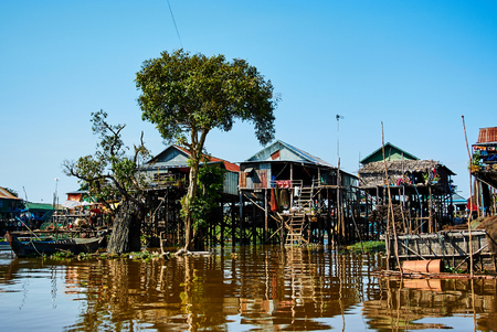 Tonle Sap Drijvende reis van Kambodja Azië Stockfoto