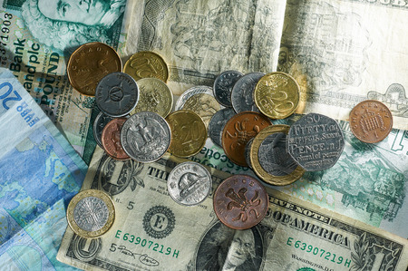 Money coins different countries euros dollars pounds turkish lyra greece Banque d'images - 102638287