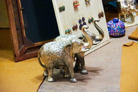 Silver elephant in indian market Delhi