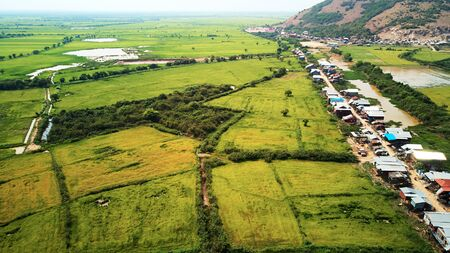 Drone Aerial view of traditionnal village in Siem-Reap, Cambodia
