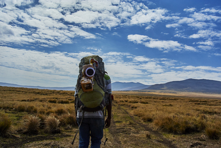 Hikein Ngorongoro Conservation Area Nationnal park Highlands craters en route for Bulati Village from Nainokanoka with Masai Guide and cook. The Crater Highlands (Ngorongoro Highlands) are a region along the East African Rift in the Arusha and Manyara Reg Imagens - 99178967