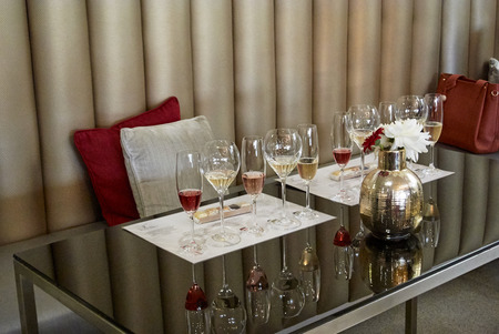 Set of glasses of champagne red rosé white sparkling wines