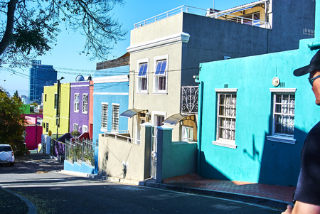 The Bo-Kaap is known for its brightly coloured houses – think pink, green, blue and orange. Other tour highlights include Auwal Masjid (the first and oldest mosque in South Africa), the Bo-Kaap Museum and the spicy delights of Cape Malay food. Banque d'images - 103031420