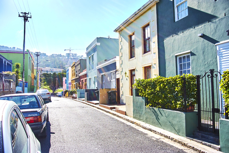 The Bo-Kaap is known for its brightly coloured houses – think pink, green, blue and orange. Other tour highlights include Auwal Masjid (the first and oldest mosque in South Africa), the Bo-Kaap Museum and the spicy delights of Cape Malay food. Banque d'images - 103031409