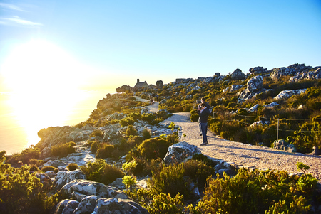 Table Mountain National Park, previously known as the Cape Peninsula National Park, is a national park in Cape Town, South Africa, proclaimed on 29 May 1998, for the purpose of protecting the natural environment of the Table Mountain Chain, and in particu Banque d'images - 103031401