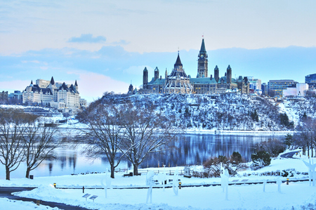 Views of Ottawa, Canada during snow storm in winter during daytime Banque d'images - 105769302