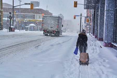 Views of Ottawa, Canada during snow storm in winter during daytime Banque d'images - 105769304
