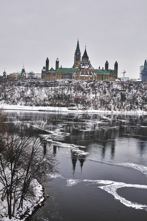 Views of Ottawa, Canada during snow  in winter during daytime