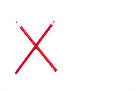 red x: red X sign from color pencil