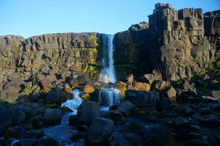Waterfall in Iceland national park Stock fotó