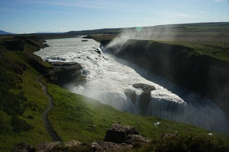 Magnificent, large waterfall in Iceland