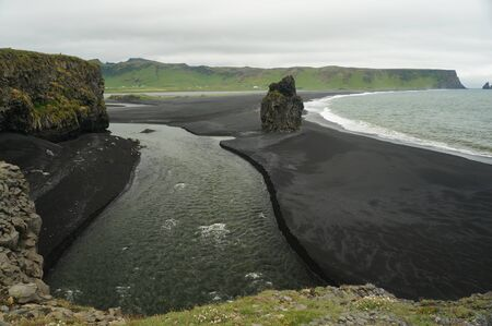 View of the black sand beach and the sea in Iceland