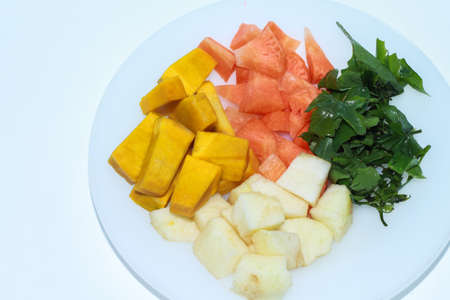 baby rice: Vegetables and fruits apples pumpkins carrots sliced ??.