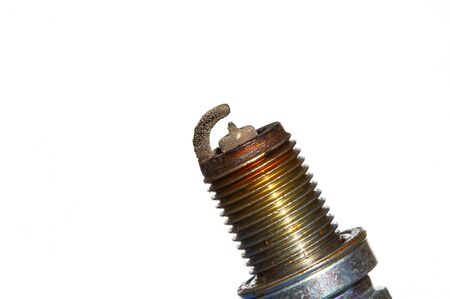 combustion chamber: Corroded spark plugs on a white background .