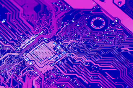 Closeup electronic circuit board dirty. Stock Photo