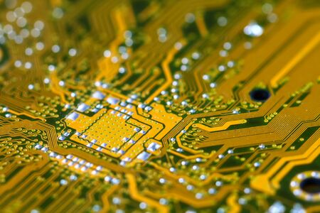 Closeup electronic circuit board dirty. Stock Photo