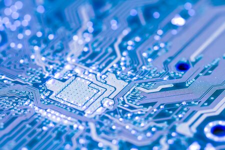 Closeup electronic circuit board vintage. Stock Photo