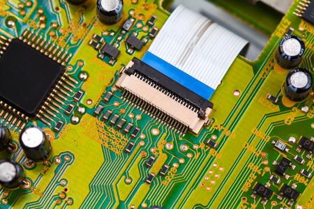 microprocessor: Closeup electronic circuit board background.