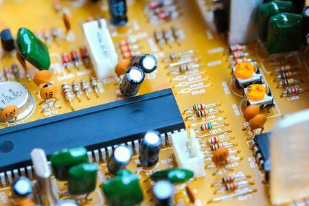 transistor: Closeup electronic circuit board background.