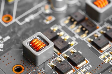 electronic background: Closeup electronic circuit board background.