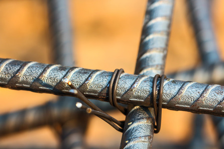 reinforcing bar: Rebar structure of the house , the truss rod . Stock Photo