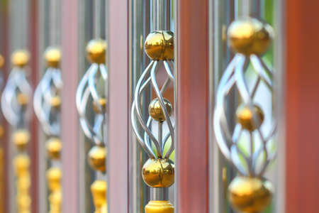 Stainless steel fence , grille outside . Stock Photo