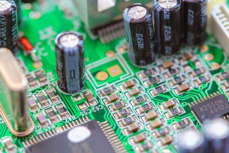 Closeup electronic circuit board  background. Stock Photo