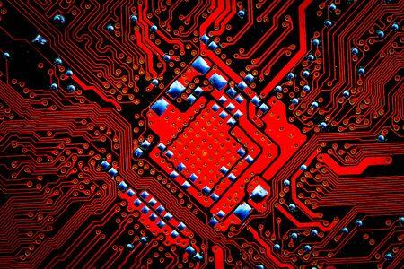 Closeup electronic circuit board background. Computer hardware.