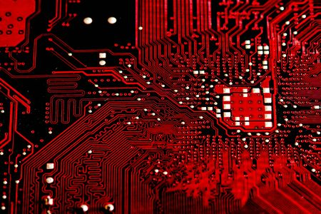 Closeup electronic circuit board background. Computer hardware.
