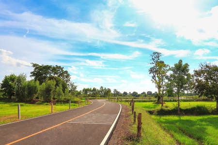 Rural roads in Thailand in a beautiful atmosphere. Stock Photo