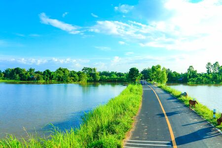 the sunken: Rural road beautiful  in Thailand.
