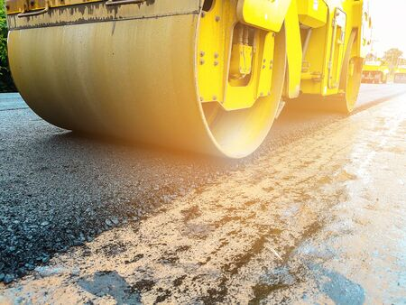 Road Roller Road Construction Machinery. Transportation Repair. Stock Photo