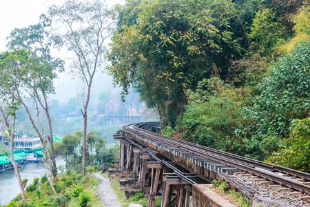 Death Railway bridge over the Kwai Noi River at  Kanchanaburi province Thailand. Stock Photo