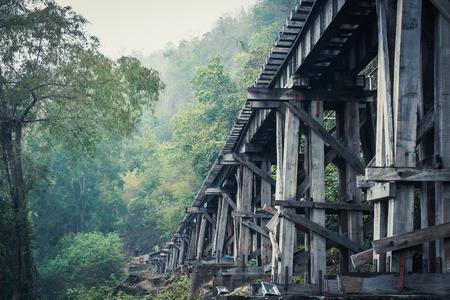 Death Railway bridge over the Kwai Noi River at  Kanchanaburi province Thailand. 版權商用圖片