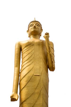 Standing buddha on white background at Roi Et Thailand. Stock Photo