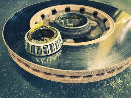 Brake discs and wheel axles heck repair. 写真素材