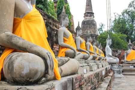 Ancient Buddha Wat Yai Chai Mongkol Thailand.