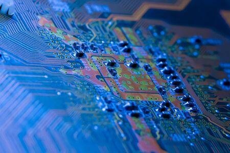 Electronics Circuit board background , close-up photo. Reklamní fotografie