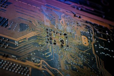 Electronics Circuit board background , close-up photo.