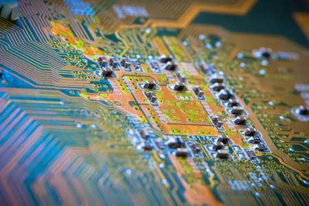 Electronics Circuit board background , close-up photo.