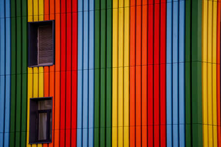 Multicolored image of the residential building wall Stock fotó
