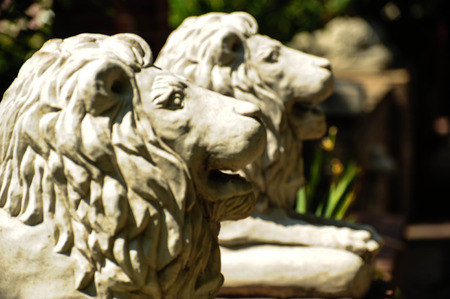 Two stone lions Imagens