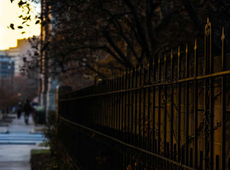 confine: Brwon fence in city b