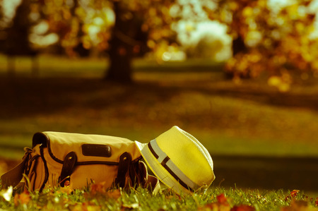 Bag and hat in autumn
