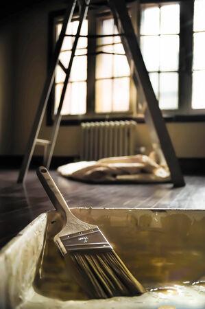 Paint brush in room Imagens - 35028638