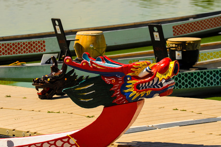 fierce competition: Dragon Boat Stock Photo