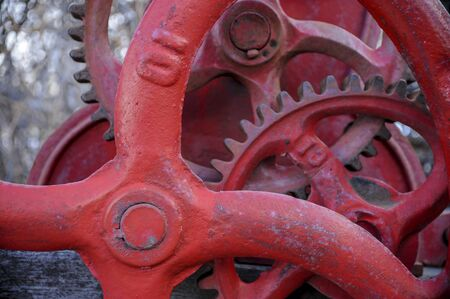 Antique red gears and cogs  with number ten