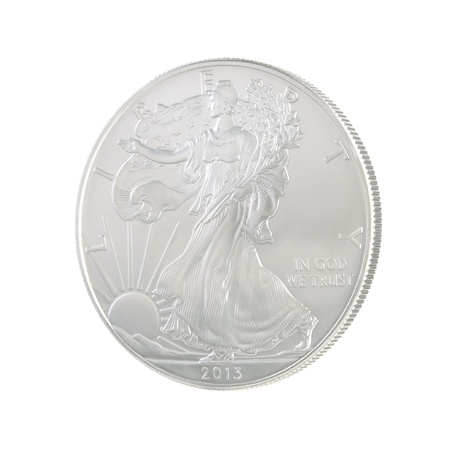 Obverse of the 2013 US Silver Eagle viewed from a slight angle Stock Photo