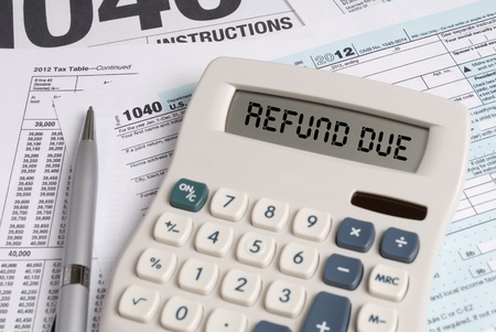 Tax Forms with Calculator that spells out REFUND DUE